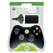 Microsoft Xbox 360 Wireless Controller (Black & Charge Kit)